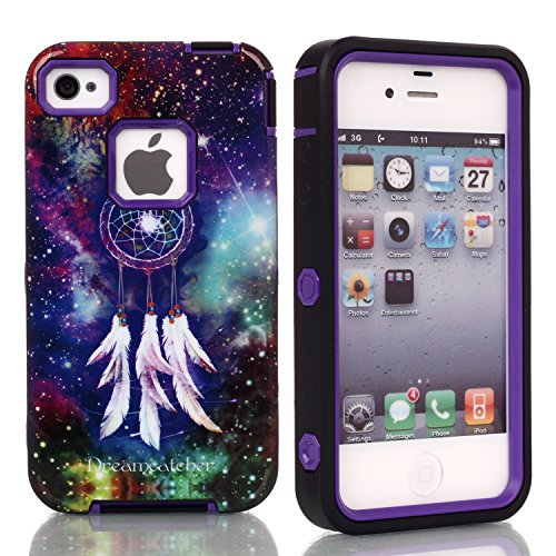 5C Case, Iphone 5C Case, New, Magicsky Iphone 5C Cover With Galaxy Dream Catcher Pattern Full Body Hybrid Impact Shockproof Defender Case Cover For Iphone 5C, 1 Pack(Dream Catcher/Purple)