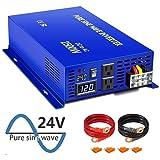 XYZ INVT Pure Sine Power Inverter 24V dc 120v AC 2500 Watt Continuous, 5000 Watt Peak Power, Dual AC Receptacles (Tamaño: 2500w24v)