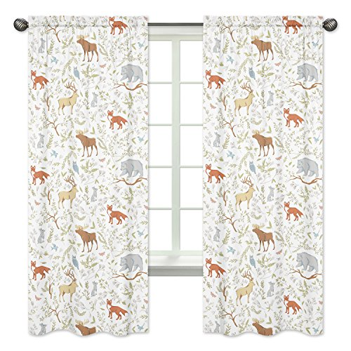Blue, Grey and White Woodland Deer Fox Bear Animal Toile Girl or Boy Bedroom Decor Window Treatment Panels - Set of 2 (Toile Kitchen Curtains compare prices)