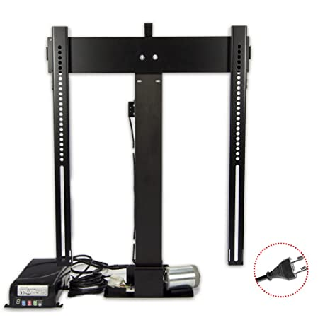 Tv Lift K-1 Eco Black, Lift Tv Telescopico Elevatori motorizzati per tv a scompar,sa nel mobile,RF Telecomando, made in EU, 5 anni di garanzia, remoto incluso