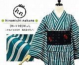 プレタ 袷 洗える着物  ナカノ ヒロミチ N-110/白×緑:縞に桜地模様 (Mサイズ)