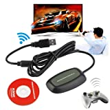 HATCHMATIC Wireless PC USB 2.0 Receiver for Xbox 360 Controller Gaming USB Receiver Adapter PC Receiver for Microsoft for Xbox 360 with CD