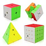 Speed Cube Set, Tresbro QiYi Magic Cube Set of 2x2 3x3 4x4 and Pyramid Smooth Puzzle Cube for Kids (Color: Cololful)