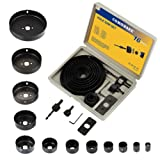 COMOWARE Hole Saw Kit for Wood- 16 Pieces 3/4''-5'' Full Set in Case with 1pcs Hex Key, 2pcs Mandrels and 1pcs Install Plate for PVC Board Plastic Plate Drilling Drywall and Soft Wood