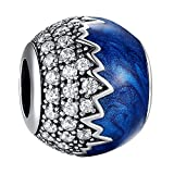 925 Sterling Silver Jewelry Beads Blue Enamel Beads Charm Jewelry for Pandora Bracelets and European Bracelets Birthday, Anniversary Gift to His Wife, Daughter, Sister, Mother