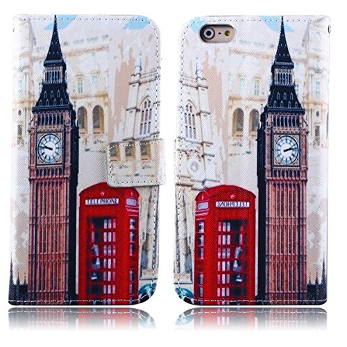 iPhone 6S Plus Case, Love Sound Apple iPhone 6 Plus Case [Stand Feature] [Wallet Function] Flip Cover Leather Case for Apple iPhone 6 Plus / iPhone 6S Plus (Big Ben+Red British Phone Booth ) (Iphone 6 Plus Case British compare prices)