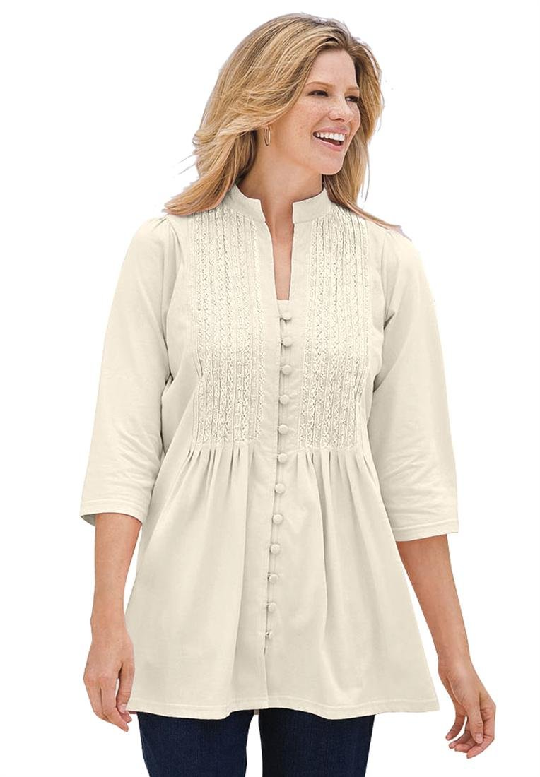 Plus Size Tunic Top In Knit Is Pleated, Pintucked, Embroidered