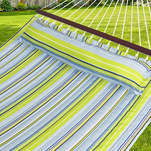 Best Choice Products Hammock Quilted Fabric With Pillow Double Size Spreader Bar, Blue and Green Stripe