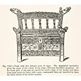 1889 Wood Engraving Chair Runes Inscription Thorunn Benedikt Zodiac Latin Viking - Original In-Text Wood Engraving...