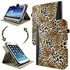 caseen Universal Tablet Wallet Case 8.9 - 10.1 Inch (Leopard/Black) w/ Multi-Angle Rotating Stand - TERRA 360