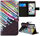 myLife Black and Rainbow {Falling Stars Design} Faux Leather (Card, Cash and ID Holder + Magnetic Closing) Slim Wallet for the iPhone 5C Smartphone by Apple (External Textured Synthetic Leather with Magnetic Clip + Internal Secure Snap In Hard Rubberized Bumper Holder)