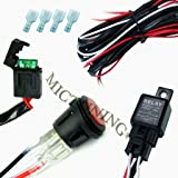 Arnés de cableado para luces Bar LED  MICTUNING Off Road para ATV/Jeep - 40 Amp Relay encendido/apagado, interruptor impermeable