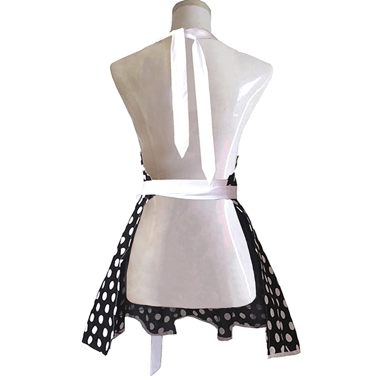 Lovely Sweetheart Black Retro Kitchen Aprons Woman Girl Cotton Polka Dot Cooking Salon Pinafore Vintage Apron Dress Gift 3