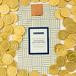 Delicious Solid Milk Chocolate Candy Gold Foil Wrapped Half Dollar Coins, 2 Pound Benevelo Bag, Money Never Tasted so Good!