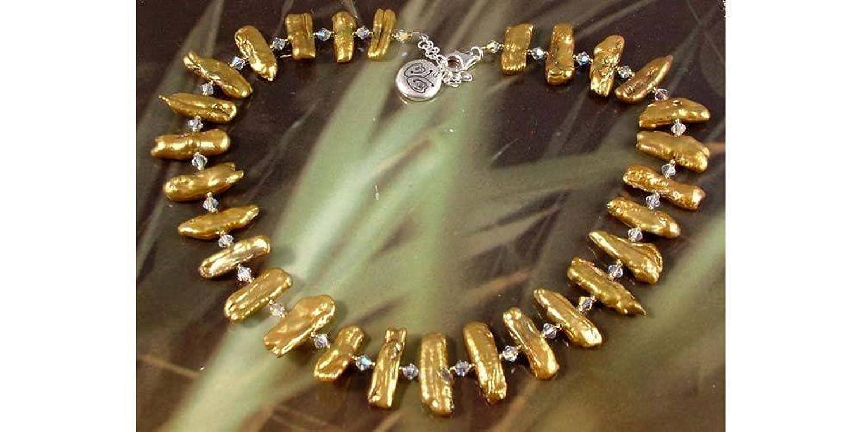 Damen Halskette mit Süßwasserperlen Kristalle goldfarben jetzt kaufen