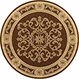 "Safavieh Courtyard Collection CY2914-3409 Chocolate and Natural Round Area Rug, 5 feet 3 inches in Diameter (5'3"" Diameter)"