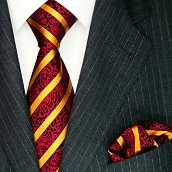 Red gold striped ties