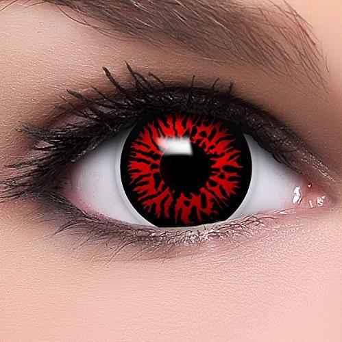 """Farbige Kontaktlinsen """"Dämon"""" in rot, weich ohne Stärke, 2er Pack inkl. Behälter und 10ml Kombilösung - Top-Markenqualität, angenehm zu tragen und perfekt zu Halloween oder Karneval"""
