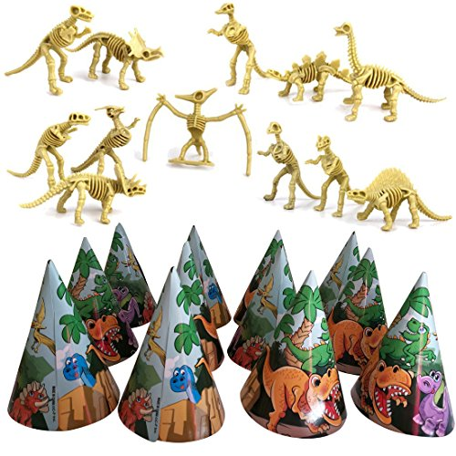 Dinosaur Skeletons And Hats Party Pack - One Set Of 12 Dinosaur Toy Figures And One Pack Of 12 Dino Party Hats - Perfect For Birthdays, Themes, Sleepovers And Games - For Kids All Ages 3 Years and Up