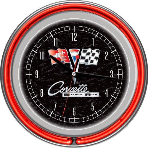 Corvette C2 Black Chrome Double Ring Neon Clock