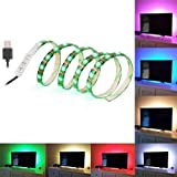 SOLLED Bias Lighting for HDTV 60 LEDs TV Backlight, 3.28Ft Ambient TV Lighting Multi-Colour Flexible 5050 RGB USB LED Strip, Best for Flat Screen/HDTV/LED Desktop/PC Monitor Background Lighting (Color: RGB, Tamaño: 1 pack 3.28Ft)