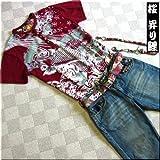mts126 和柄 Tシャツ ちりめん 家紋 桜 刺繍 波 昇り鯉 メンズ 半袖 Tシャツ 半袖Tシャツ