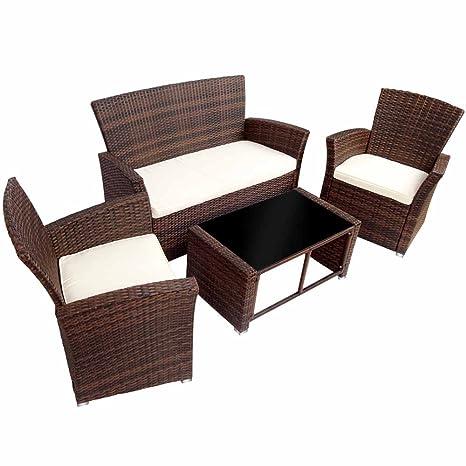 Miadomodo Set divano in polyrattan arredo giardino 4 pezzi inclusi cuscini sedile (marrone)