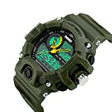 Bounabay Men's Analog Display Sports Military Wrist Watch Multifunctional 5ATM Waterproof Quartz with LED Backlight (Color: Green)