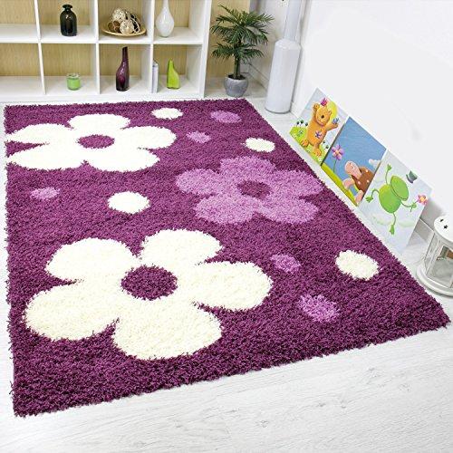 VIMODA shaggy0180 tappeto a pelo lungo, motivo floreale, certificazione Ökotex e facile da pulire, lilla/crema, viola, 160 x 230 cm