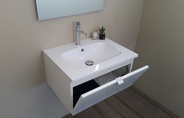 Arredo Bagno Mobile bagno da cm 60 con lavabo/lavandino in mineralmarmo bianco lucido