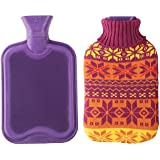 2 Liter Premium Classic Rubber Hot Water Bottle w/ Cute Knit Cover (2 Liter, Purple / Christmas Snowflake)