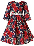 Bonny Billy Girls Classy Vintage Floral Swing Kids Party Dress with Belt 8-9 Years Floral