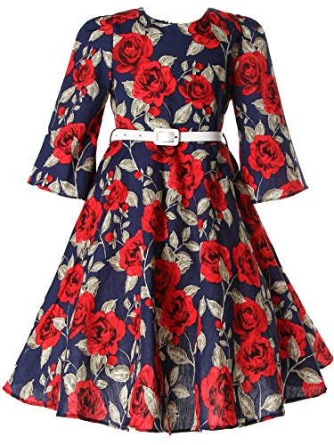 Bonny Billy Girls Classy Vintage Floral Swing Kids Party Dress with Belt 7-8 Years Floral (Girls Vintage Dress compare prices)