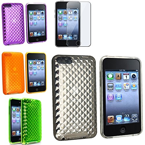 Eforcity 4 Soft Silicon Gel Skin Case With Lcd Screen Cover For Ipod Touch 2G/3G