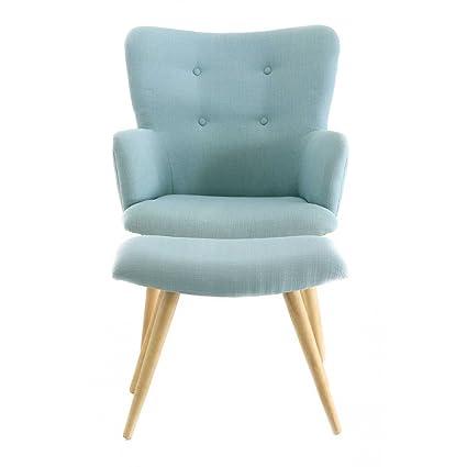Fauteuil vintage tissu et repose-pieds bleus Stockholm-Fauteuil vintage tissu et repose-pieds bleus Stockholm