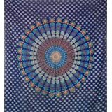 Blue Traditional Indian Design Mandala Bed Spread,hippie,boho.Double Size Thr...