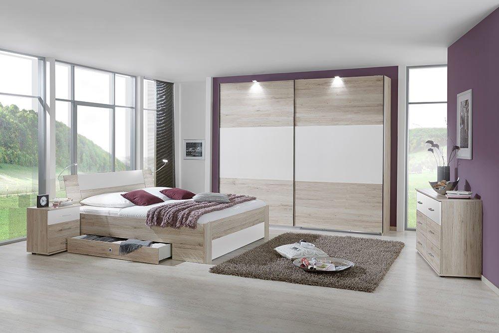 4-tlg-Schlafzimmer in San Remo-Eich-NB mit Abs.in weiß, Schwebetürenschrank B: 270 cm, Bett mit Schubkästen B: 180 cm, 2 Nachtschränke B: 52 cm online bestellen