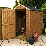 6ft x 4ft Overlap Apex Wooden Windowless Storage Shed - Brand New 6x4 Wood Sheds