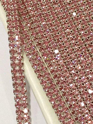 [2 ROW Pink Rose Rhinestone Cake Ribbon Banding Trim Costume Decoration 3/8