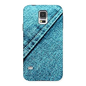 Impressive Denim Diagnal Print Back Case Cover for Samsung Galaxy S5