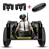 Lanyi Mobile Game Controller, 1 Pair Survival Game Triggers for Knives Out/PUBG/Rules of Survival and 1 Pair Mobile Game Controller for 4.5-6.5inch Android IOS Phones