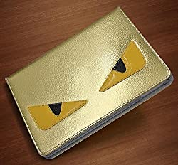 Monster Funky Designer iPad Air 2 Case Cover Leather Flip Stand (Gold)