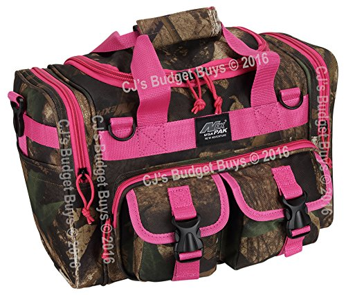 womens-hunters-camo-pink-15-inch-duffel-duffle-molle-tactical-shoulder-bag-with-key-ring-carabiner
