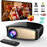 Wireless WiFi Video Projector DIWUER Projector +50% Brighter Full HD 1080P Portable Mini Projectors Support Airplay Mira-cast for Home Theater Game Movie (Color: Black6)