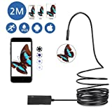 Pawaca Updated USB Endoscope for OTG Android IOS Iphone, Waterproof Borescope Inspection Camera 2.0 M HD Snake Camera 5mm With 6 Led (Color: Black, Tamaño: 2M)
