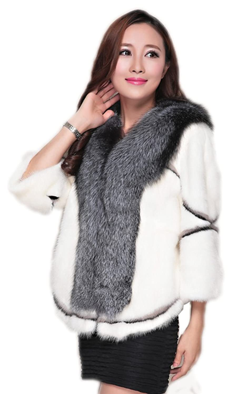 YR.Lover Damen wirklich Nerz Pelz kurz Mantel&Jacke Mit Silver Fuchs Pelz Kragen jetzt kaufen
