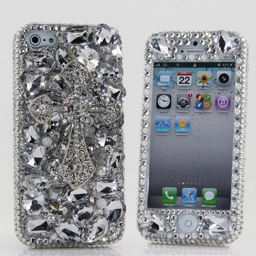 Great Sale BlingAngels® 3D Luxury Bling iphone 5 5s Case Cover Faceplate Swarovski Crystals Diamond Sparkle bedazzled jeweled Design Front & Back Snap-on Hard Case (100% Handcrafted by BlingAngels) (Clear stones with Silver Cross)