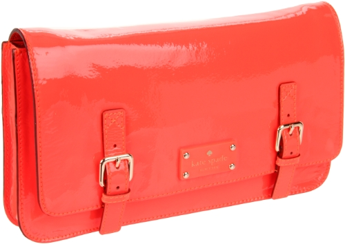 Kate Spade Ellie Flicker Florescent Coral Clutch Handbag