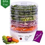 Essicatore con regolatore di temperatura da 35 a 70 gradi | 5 ripiani regolabili in altezza | privo di BPA  macchinetta per essiccare | essicatore per frutta |