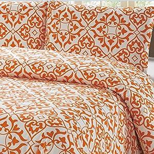 100% Cotton Orange Damask Pattern Duvet Cover Set Full/queen on White Background